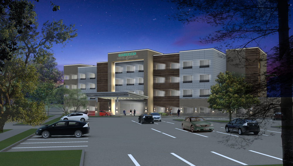 Gundersen Hotel and Suites - Architects Building Rendering.