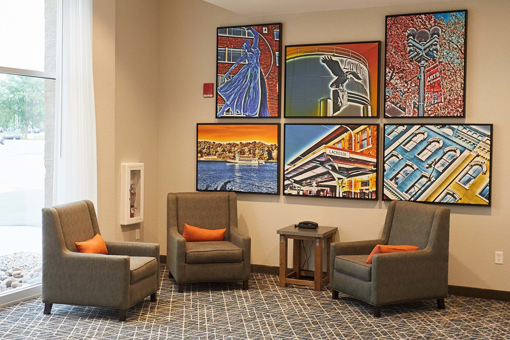 Gundersen Hotel and Suites - A fresh view of La Crosse, WI is depicted in our art throughout the hotel, featuring the sites and scenes of our area.