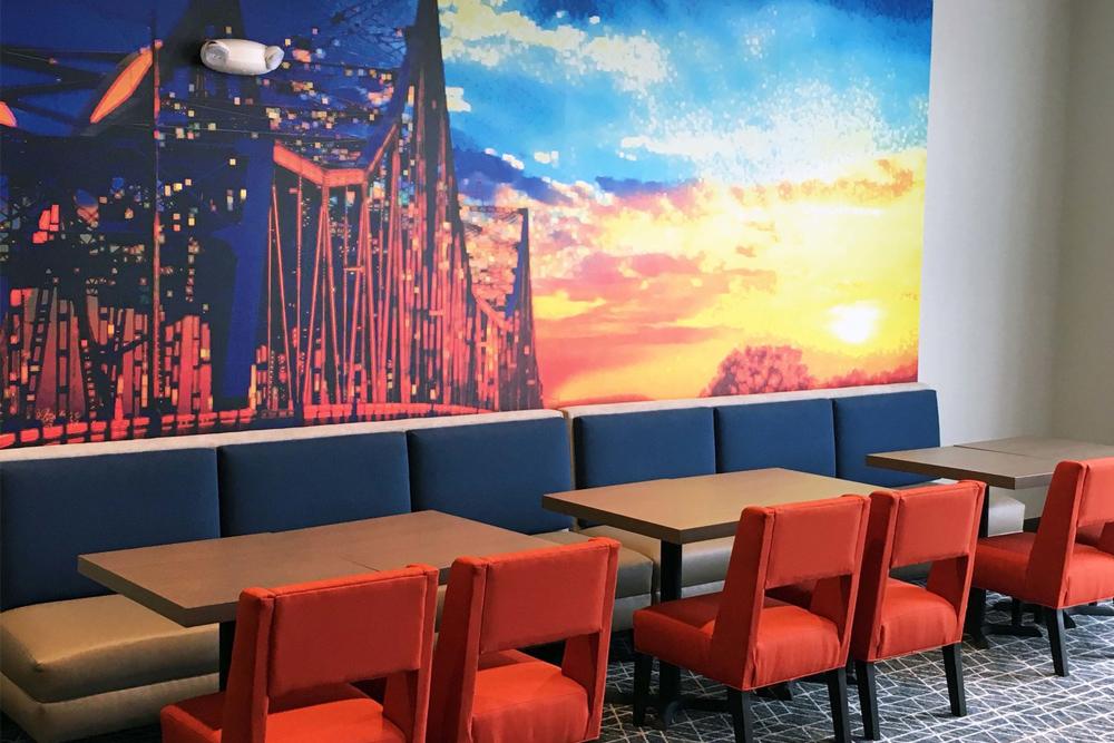 Gundersen Hotel and Suites - Bridge Mural in Breakfast Area.